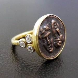 22K Gold Hammered Roman Coin Ring